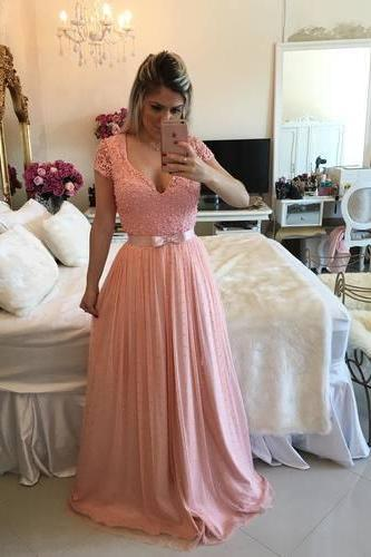 Sexy Prom Dress,Cute Prom Dress,Short Sleeve Prom Dress,V Neck Evening Dress,Long Prom Dresses,Formal Dress