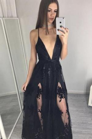 Black Spaghettis Straps Prom Dresses Side Slits Appliques A-line Party Dresses