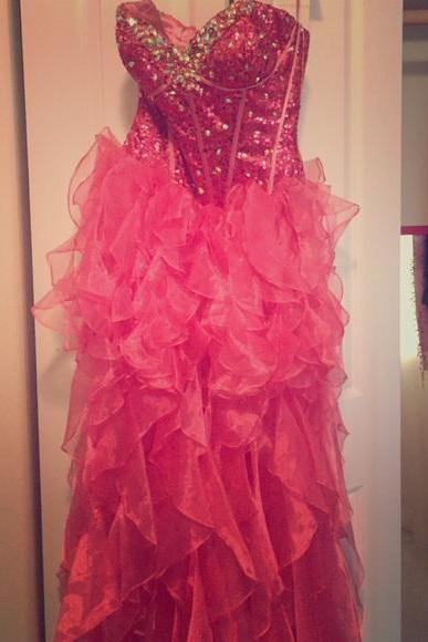 Sexy Prom Dress,Ruffles Prom Dresses,Tulle Homecoming Dress,Prom Gown,Beaded Prom Dresses