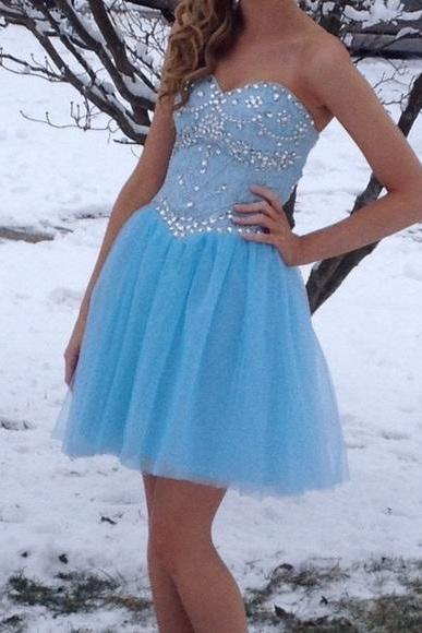 Sexy Prom Dress,Blue Beaded Prom Gown,Cute Prom Dress,Short Party Dresses