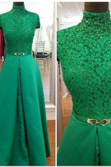 Sexy Prom Dress,Cap Sleeve Prom Dress,Long Prom Dresses ,Green Evening Dress,Evening Gown,High Neck Formal Evening Dress