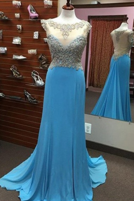 Sexy Prom Dress,Appliques Prom Dress,Long Prom Dresses,Chiffon Prom Dress,Long Evening Dress