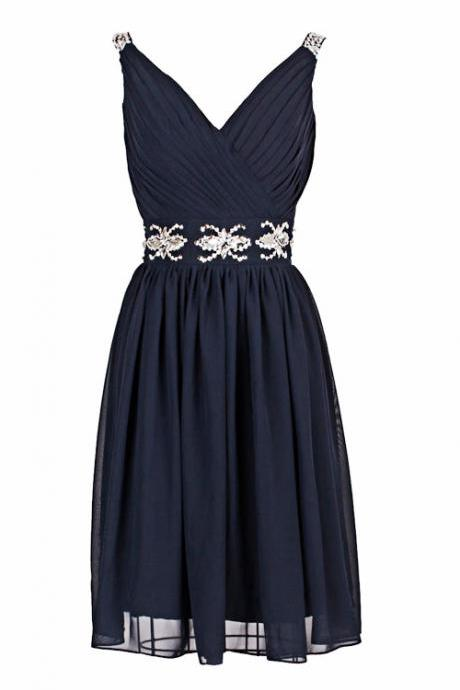 Sexy Prom Dress,Sleeveless Prom Dress,Short Prom Dresses,Navy Evening Dress