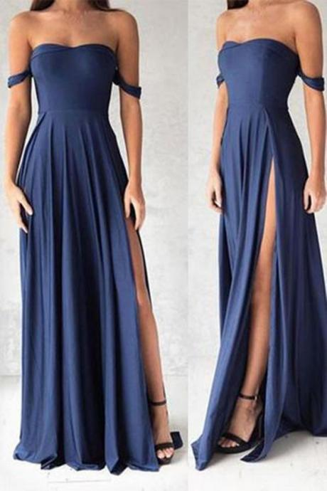New Arrival Prom Dress,Navy Blue Prom Dresses,A Line Prom Dress, Simple Evening Dress with High Slit