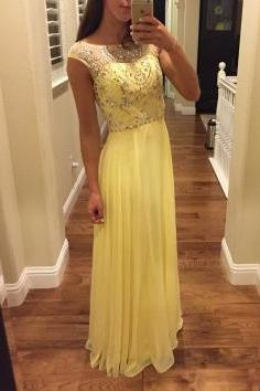 New Arrival Prom Dress,Yellow Chiffon Prom Dresses,A Line Prom Dress, Crystal Beaded Evening Dress, Formal Dress