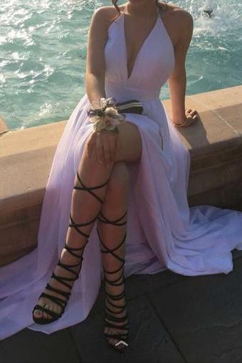 New Arrival Prom Dress,Backless Prom Dresses,Split Slit Prom Dress, Simple Evening Dress with Slit,Long Prom Dress