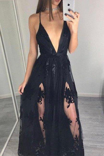 New Arrival Prom Dress,Black Prom Dresses,A Line Prom Dress, Appliques Evening Dress, Long Prom Dress