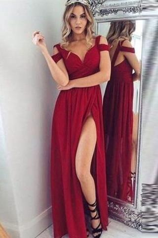 New Arrival Prom Dress,High Slit Prom Dresses,Long Evening Dress,Elegant Prom Dresses,Floor Length Evening Formal Dress