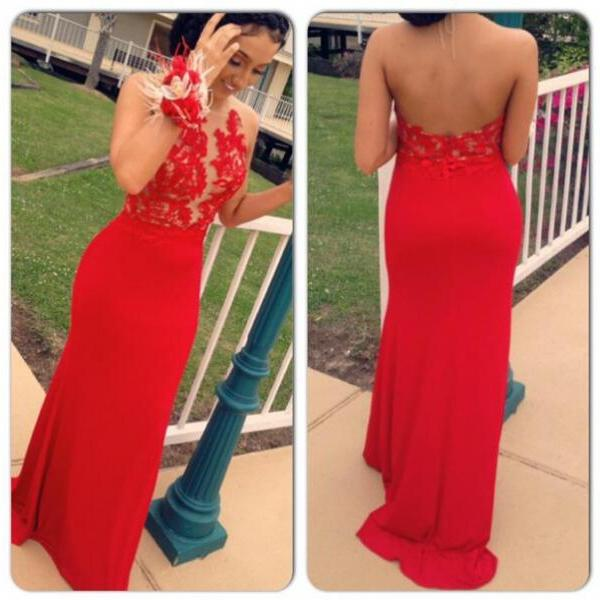 Pretty Backless Halter Neckline Lace Appliques Red Prom Dress,Nifty Evening Dresses