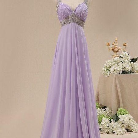 New Fashion A Line Evening Dress With Beaded Spaghetti Straps Lilac Prom Dress Chiffon Skirt Party Gown