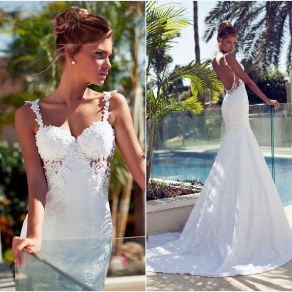 Sexy White Lace Backless Mermaid Wedding Dresses,Spaghetti Strap Bridal Gown,2016 Fashion Wedding Gown