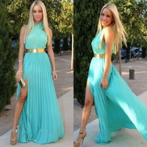 New Arrival Charming Chiffon with Gold Belt Prom Dress Halter Sexy Slit Party Gown Evening Dresses