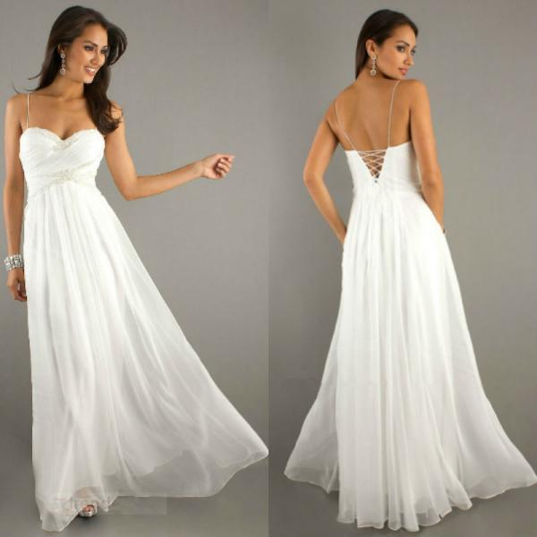 New Arrival Charming Spaghetti Sweetheart Chiffon White Prom Dresses Evening Dresses