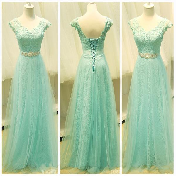 New Arrival A Line Mint Tulle Prom Dress,Cap Sleeves Prom Dresses, Beaded Belt V Neck Evening Prom Gown Dress ,Charming Homecoming Dress Lace Up Graduation Dress