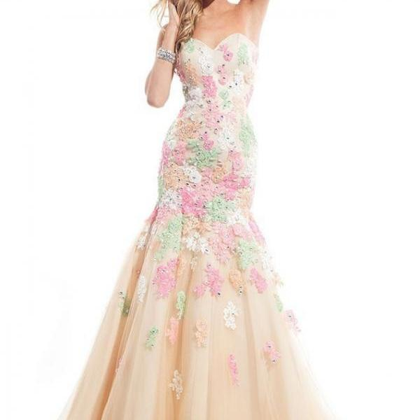 New Arrival Charming Long Evening Dresses,Sweetheart Appliques Beaded Backless Mermaid Prom Dress Evening Gown