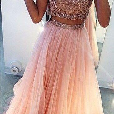 New Arrival Custom Made Fashion Prom Dress, 2 Piece Prom Dresses,Tulle Prom Dress,Beading Prom Dress,Charming Prom Dress