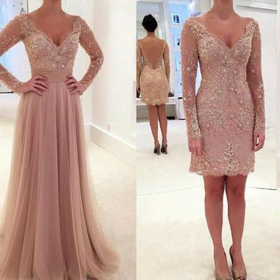 New Arrival Custom Made Long Sleeve Evening Dress,Elegant Evening Dress,Tulle Evening Dress,Pink Evening Dress