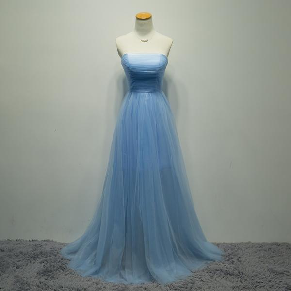 Custom Made Graduation Strapless Blue Prom Dresses with Pleat, Long Homecoming Dress, A Line Graduation Dresses,Elegant Evening Dresses, Evening Gown