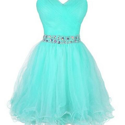 Cute Short Tulle Sweetheart Beaded Waist Short Prom Dresses,Tulle Graduation Dresses, Homecoming Dresses,Party Dresses
