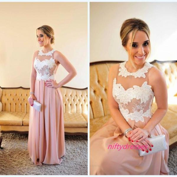 Vestido de Festa Longo Pink Sexy Floor Length Evening Dress, Long Prom Dresses ,See Through Evening Gown,Beaded Bodice Prom Gown