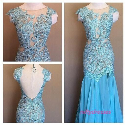 Blue Elegant Sleeveless Mermaid Chiffon Lace Formal Dress, O-Neck Evening Dresses,Evening Gown