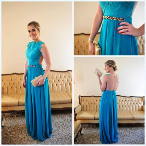 Blue Sexy A-Line Chiffon Evening Gown,See Through Back Chiffon Prom Dresses With Crystals,Lace Prom Dress
