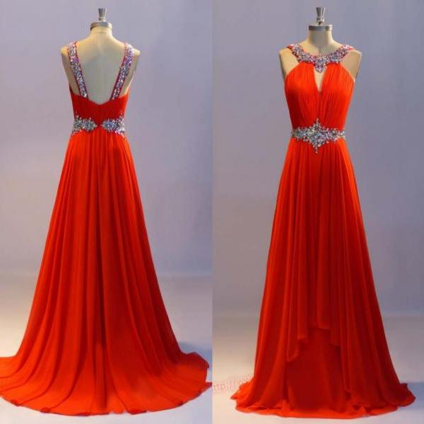 New Arrival Red Long Evening Dresses,Scoop Beaded Evening Gown,A-line Party Dress,Bridsmaid Dresses,Wedding Party Dress