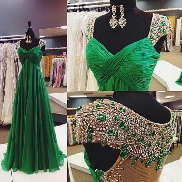 New Arrival Luxury Long Evening Dress,Beaded Robe De Soiree Sheer Back Green Prom Dresses.Cap Sleeve Party Dresses