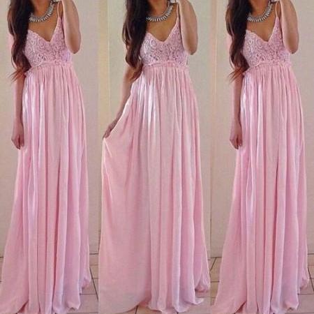 A-line Floor-length Pink Prom Dress,V Neck Prom Dresses,Chiffon Bridesmaid Dresses,Wedding Party Dresses,Beatiful Prom Gown