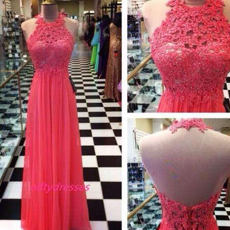 Chiffon Watermelon Prom Dress,High Neck Prom Dresses,Open Back Prom Gown,Floor Length Party Dresses,Beading Prom Dresses