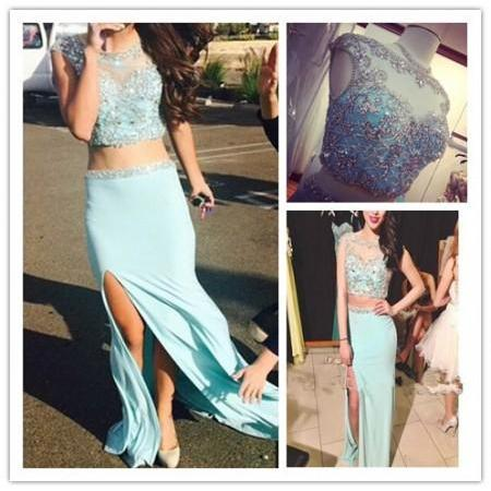 Two Pieces Prom Dresses,Natural Sleeveless Beaded Floor-length Formal Dresses,Sexy Prom Gown,Cap Sleeve Party Dress for Prom,Chiffon Prom Dresses