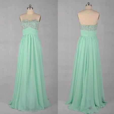 Sequin Mint Chiffon Prom Dress,Zipper Prom Dresses,Elegant Long Prom Dress,Floor Length Prom Dress,Pretty Homecoming Dress
