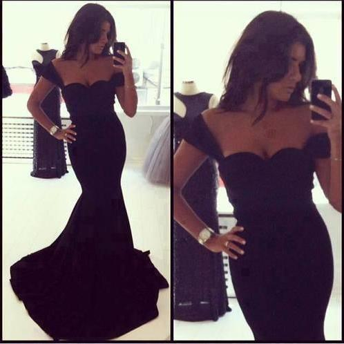 New Elegant Mermaid Sweetheart Black Sleeveless Taffeta Floor Length Formal Evening Dresses