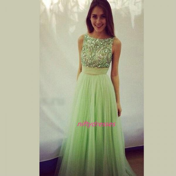 A-line O-neck Apple Green Formal Party Dresses Tulle Long Prom Dresses Homecoming Dresses Backless Dress for Prom with Beads