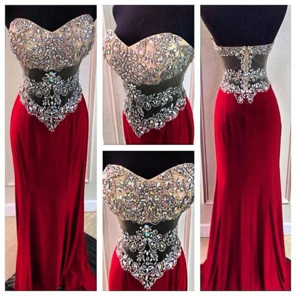 Custom Made Exquisite Crystal Sweetheart Long Red Prom Dresses 2016 Sexy Backless Evening Dresses