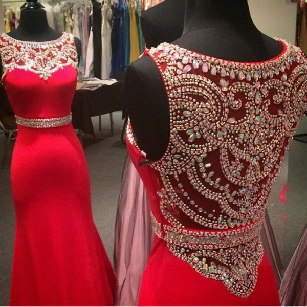 Custom Made Mermaid Red Prom Dress 2016 Scoop Cover Back Sweep Train Chiffon and Crystal Party Dress Formal Dress