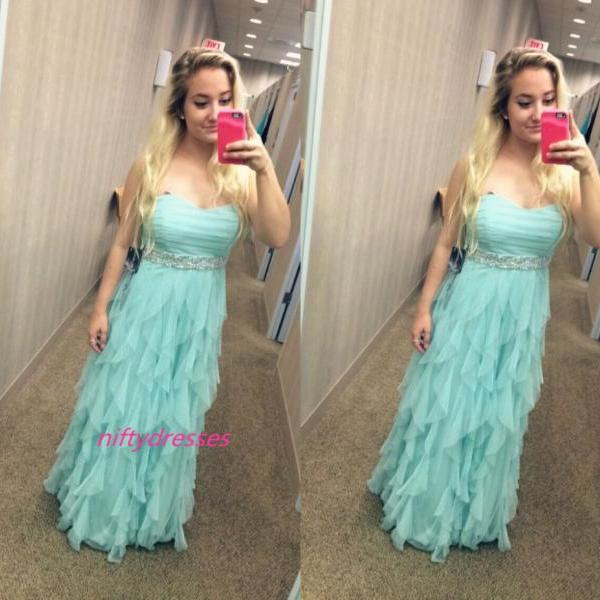Elegant Light Blue A-line Sweetheart Formal Party Dresses Chiffon Long Prom Dresses Zipper Tired Beaded Dress for Prom