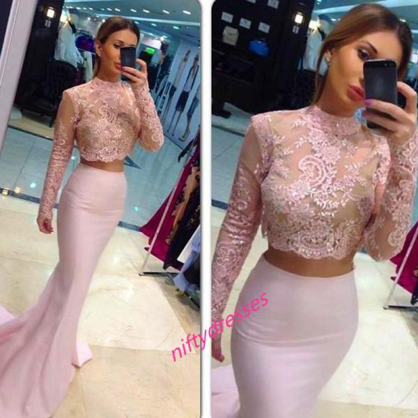 Two-Piece Mermaid Prom Dresses,Long Sleeves Lace Pink Prom Dress,High Neck Evening Gowns,Lace Evening Formal Dress,Elegant Women Dress