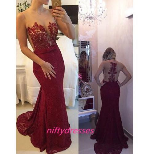 Sexy Prom Dresses,Burgundy Prom Dress,Lace Evening Gown,Long Formal Dress,See Though Prom Gowns,Modest Formal Evening Gown