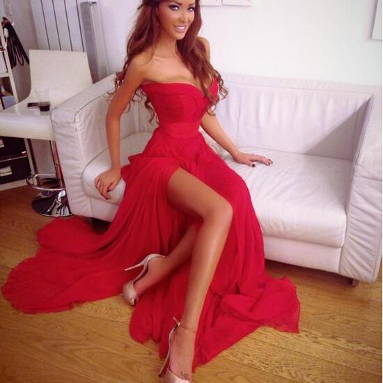 Sexy Red Chiffon Prom Dress,Split Open Back Prom Dress,Long Prom Dresses