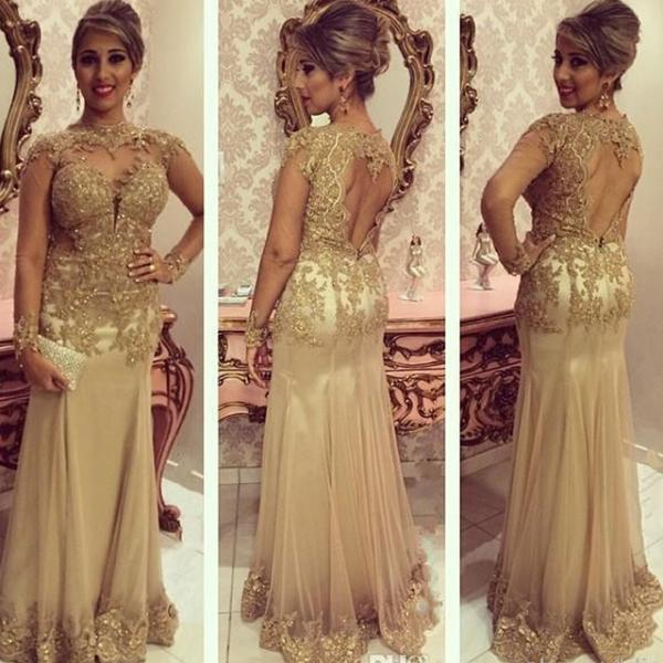 Hot Champagne Long Prom Dresses Gold Appliqued ,Sexy High-Collar Mermaid Evening Party Gowns Chiffon Long Sleeves Sheer Evening Gown