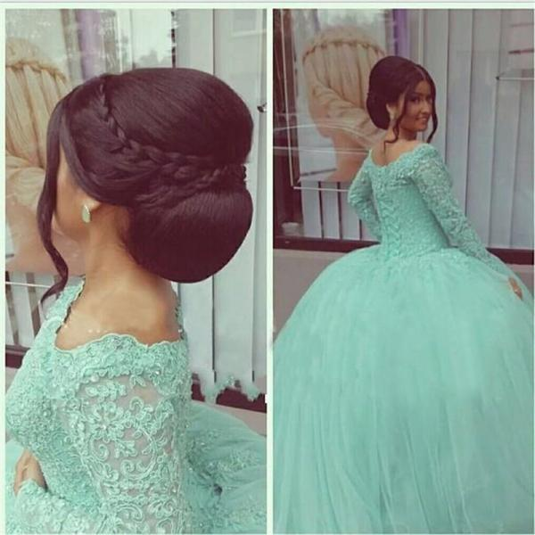 Hot Sale Green Lace Appliqued Evening Dresses Ball Gowns Full Long Sleeve Evening Gowns