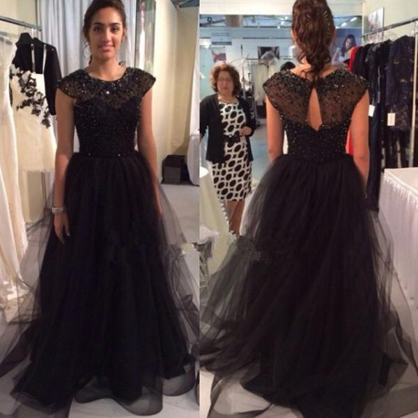 Charming Cape Sleeves Sequined Beaded Tulle Evening Prom Dresses Crew-Neck Black Ruffle Formal Gowns