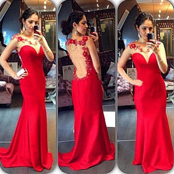 Sexy Charming Red Mermaid Long Evening Dresses Sleeveless Sheer Neck Floor Length Formal Party Gowns
