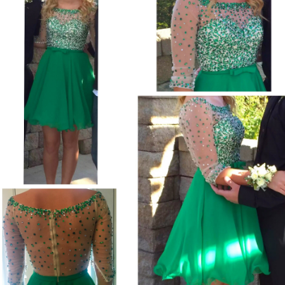 Charming Evening Dress,Green Homecoming Dress with Crystal,Tulle Prom Gown,Scoop Short Prom Dress