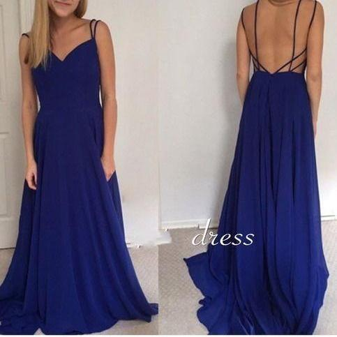 Charming Evening Dress,Sexy Backless Prom Dress,Royal Blue Evening Gown,Formal Dress