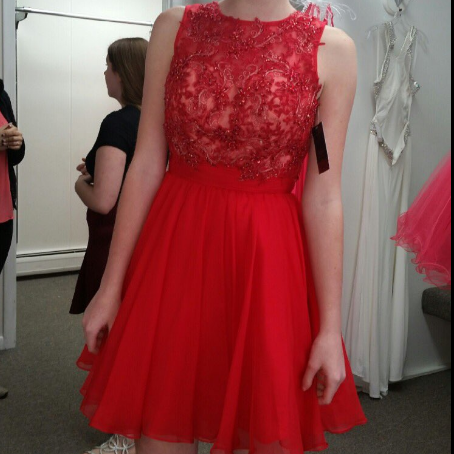 Charming Red Homecoming Dress,Short Homecoming Dress with Lace Appliques,Beaded Prom Dress