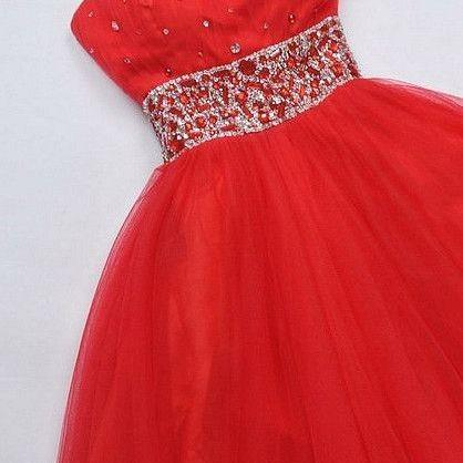 New Arrival Backless Prom Dress,One Shoulder Red Prom Gown,Tulle Prom Dress with Beaded