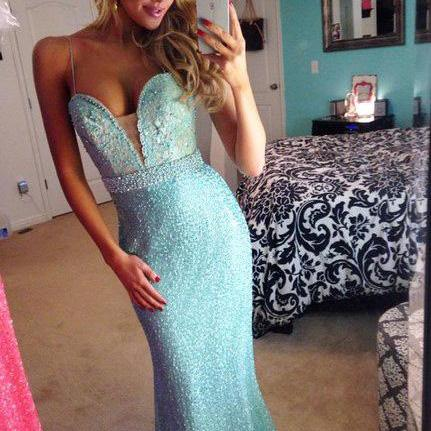Charming Prom Dress,Long Prom Dress,Spaghetti Straps Prom Dresses,Formal Evening Dress,Prom Gown