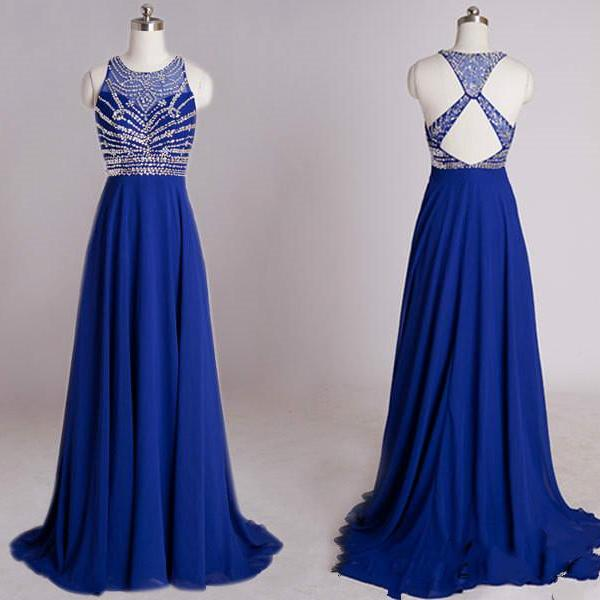 Royal Blue Evening Dress,Backless Formal Evening Gown,Beaded Prom Dress,Women Dress